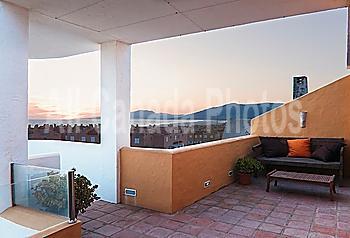 Furniture On An Outdoor Patio; Tarifa, Cadiz, Andalusia, Spain