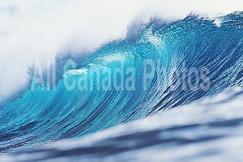 Hawaii, Large curling blue wave breaks toward shoreline