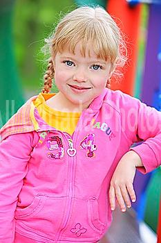 portrait of a girl at the playground; troutdale, oregon, united states of america