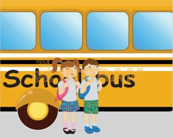 Vector illustration of little boy and girl standing near the school bus.