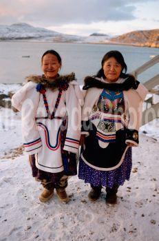 Timania Petaulissie & Haunaq Mikkigak, Inuit women from Cape Dorset, Baffin Island, Nunavut, Canada.