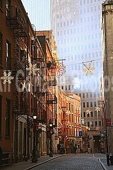 A Side Street Decorated With Snowflakes; Manhattan, New York, United States Of America