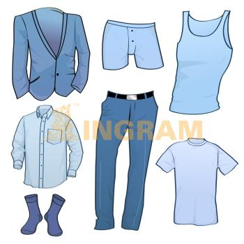 Vector illustration of cool Men clothes icon set